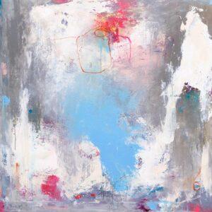 Et maleri med minder, 100x100 cm, pris kr. 5.000,-
