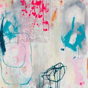 Stencils-maleri, 60x60 cm, pris kr. 2.500,-